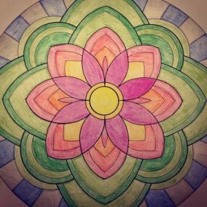 "a completed design from my ""coloring mandalas"" book."
